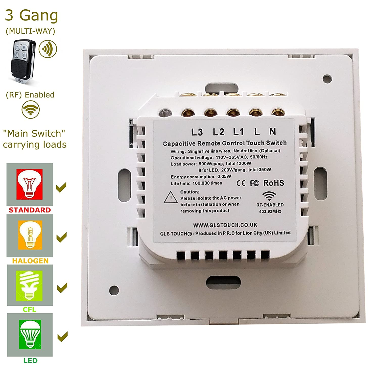 panel multi touch dimmer black glass light off full glstouch parts on switch gang rf way