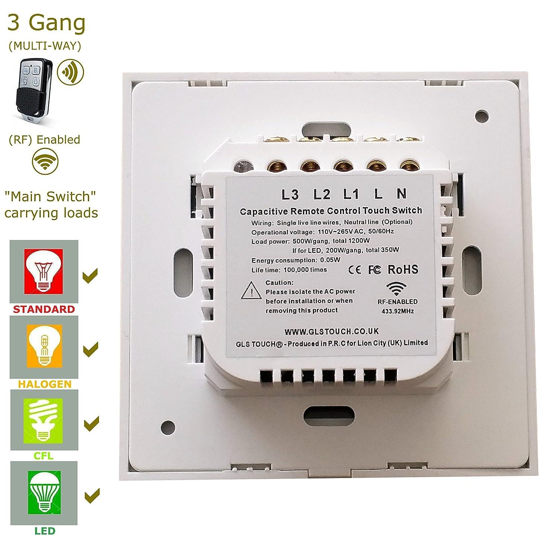 funry rf waterproof gang remote control pin eu wall light way switch