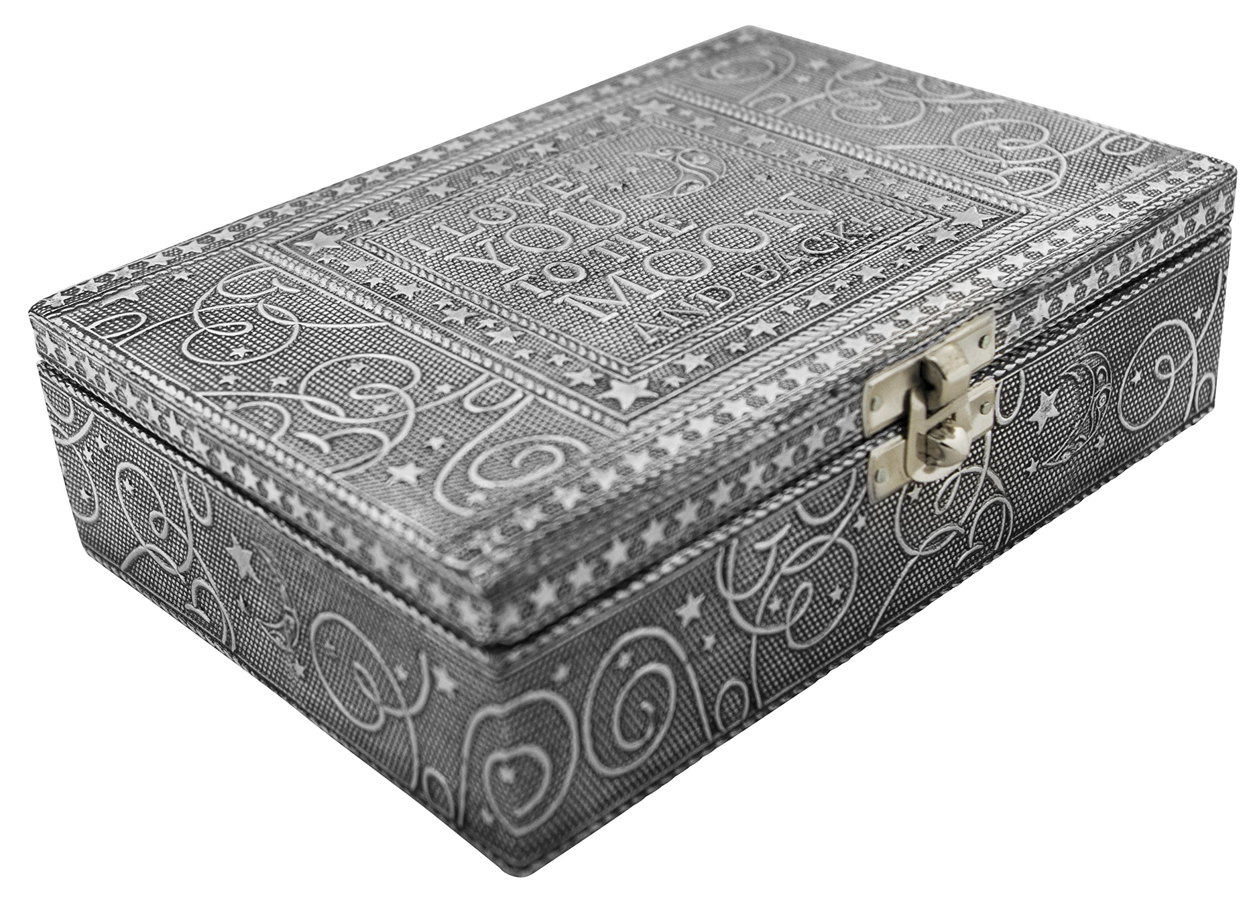 VGI Elegant Jewelry Box with Hammered Metal Cladding and Soft Fabric Interior (Love You to the Moon, Silver Finish)