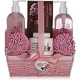 Spa Gift Basket in Cherry Blossom Fragrance - 8 Piece Luxurious Bath Set, Includes Shower Gel, Bubble Bath, Bath Salt, Lotion & More! Great Wedding, Anniversary or Graduation Gift for Women