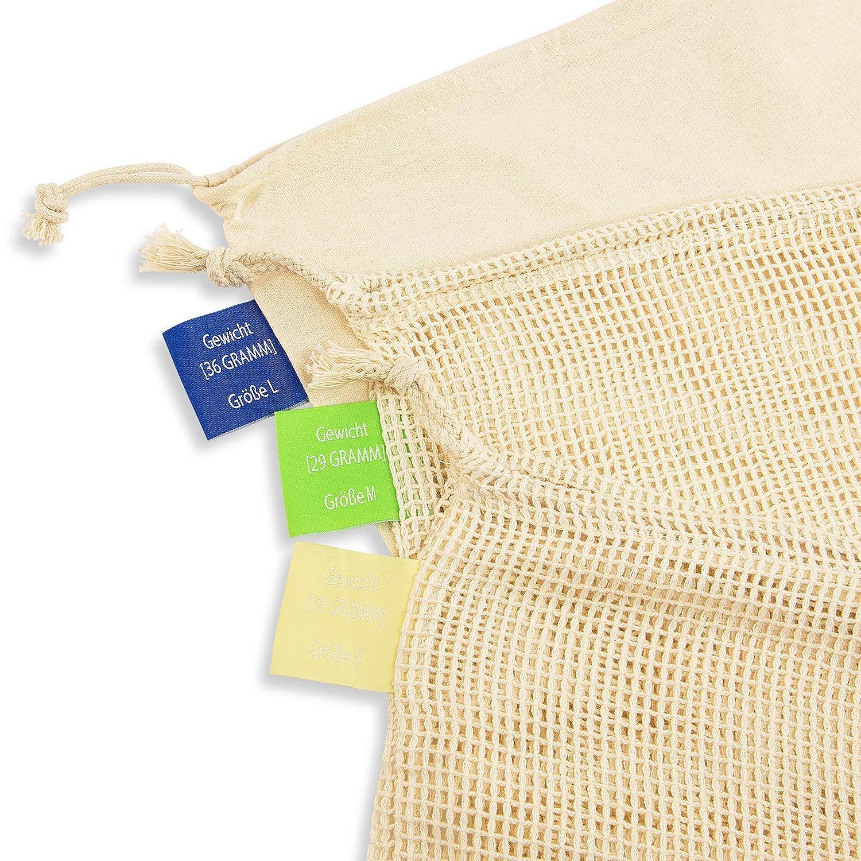 Green Thumbs Wiederverwendbare Obst- und Gem/üsebeutel aus 100 /% Baumwolle inklusive Brotbeutel hochwertige Netzbeutel mit Gewichtsangaben 5er Set