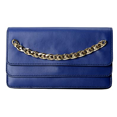 2ad1c90446 Image Unavailable. Image not available for. Color: Valentino Garavani  Women's Blue 100% Leather Rockstud Clutch Bag