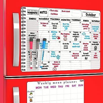 Calendario mensual magnético de borrado en seco para frigorífico y ...