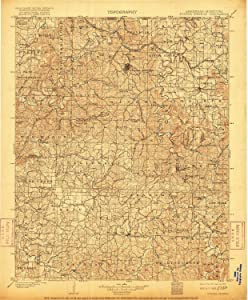 YellowMaps Eureka Springs AR topo map, 1:125000 Scale, 30 X 30 Minute, Historical, 1901, Updated 1916, 19.9 x 16.5 in