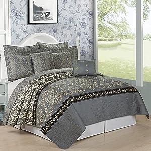 Serenta 7 Piece Printed Microfiber Bedspread Quilts Set, Queen, Mystic Charcoal