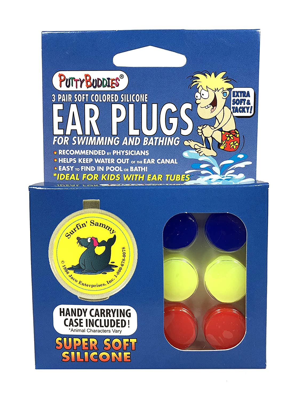 Putty Buddies Original Swimming Earplugs 3-Pair Pack Purple//Teal//Magenta