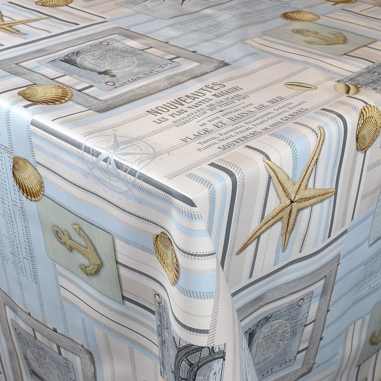 Rand: Schnittkante , 5 m x 140 cm eckig Wachstuchrolle ohne Einfassung KEVKUS Wachstuch Tischdecke C144131 maritim Leuchtturm Seestern Muschel Meer w/ählbar in eckig rund oval