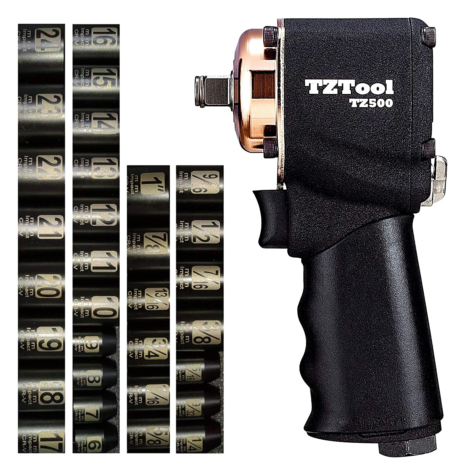 TZTool mini 1 2 impact wrench kit 34-PC , 1 2 3 8 Metric Inch super short sockets 3 8 Reducer swivel plug
