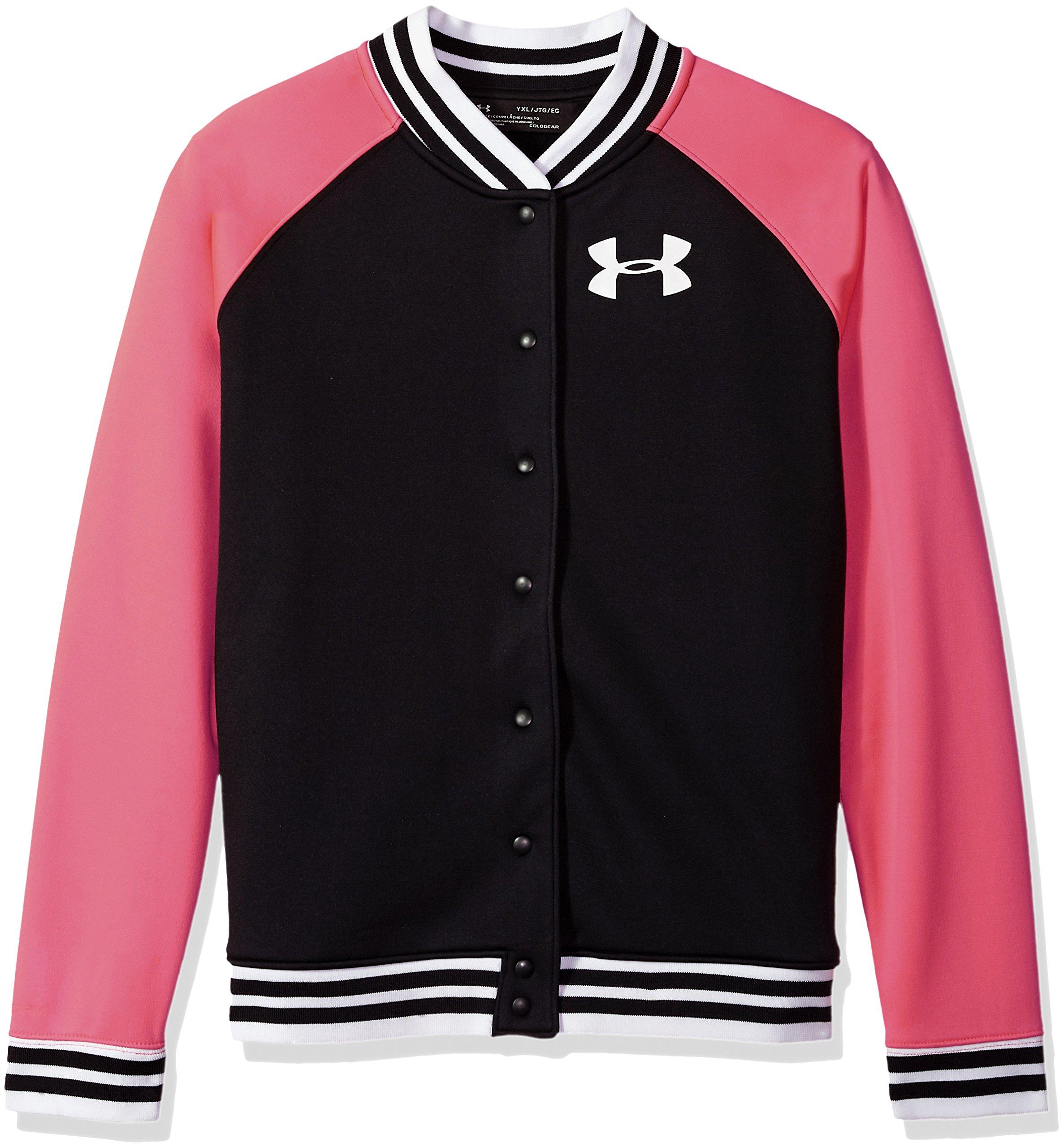 Under Armour Girls Fleece Graphic Bomber sweatshirts,Black /White, Youth X-Small