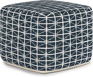 SIMPLIHOME Noreen Square Pouf, Footstool, Upholstered in Dark Blue and White Cotton Handloom Woven Pattern, for the Living Room, Bedroom and Kids Room, Transitional, Modern