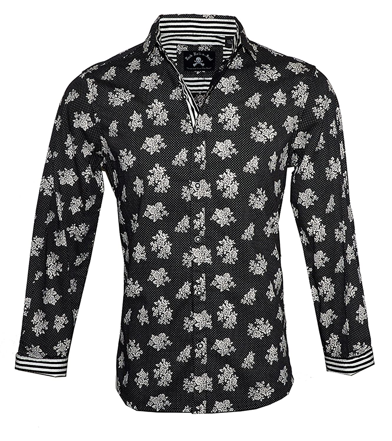 fa95f90ecf39 Rock Roll-n-Soul Men's Long Sleeve Floral Button up Fashion Shirt In Black  Slightly Dazed 390B at Amazon Men's Clothing store: