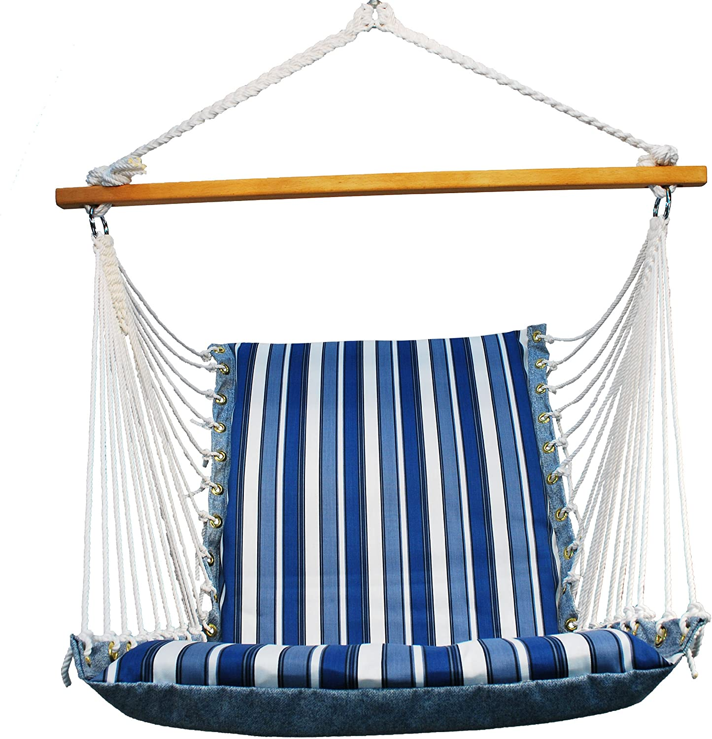 Algoma 1500-135142 Hanging Soft Cushion Chair, Palm Stripe Blue