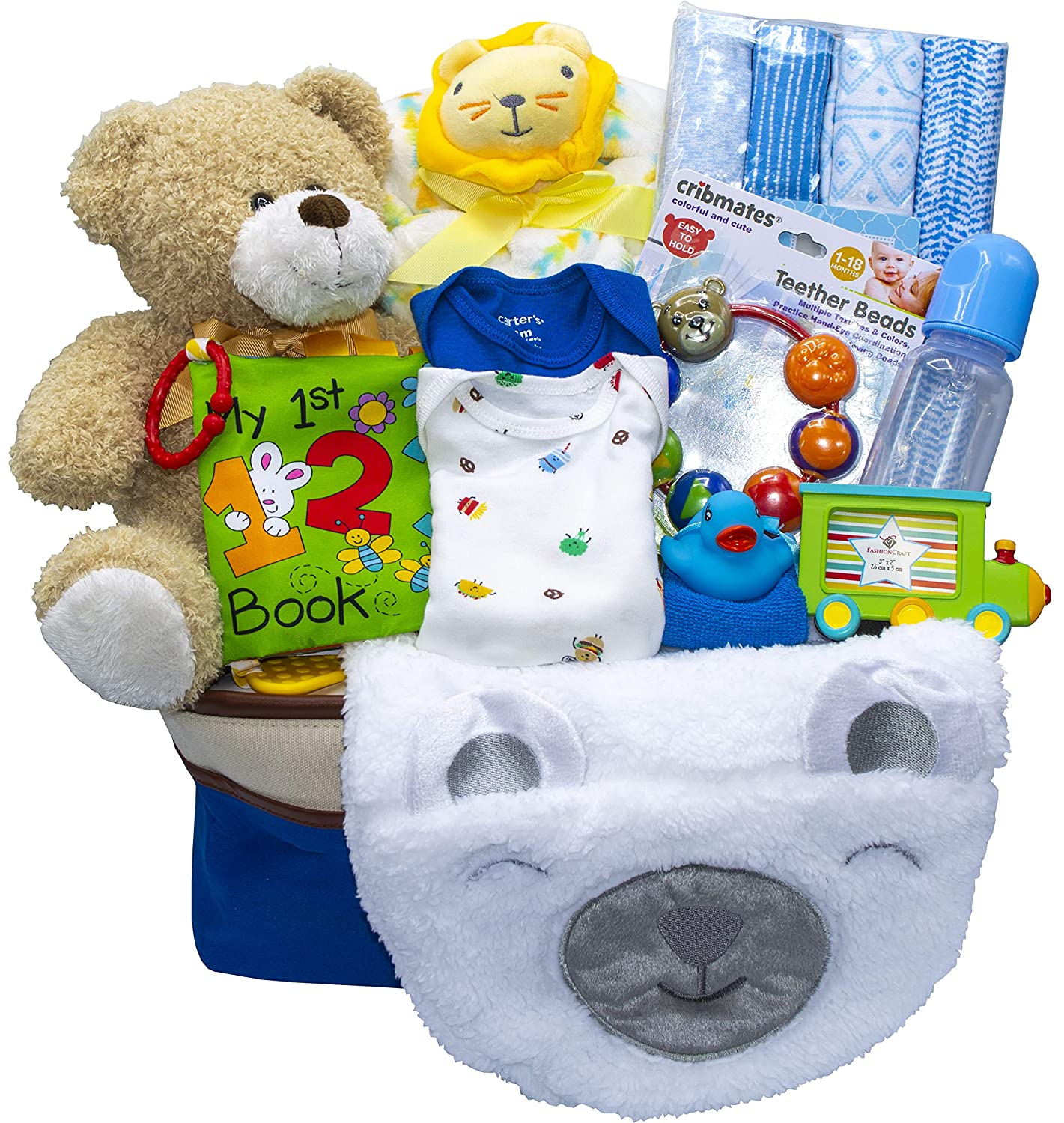 Joyful Arrival Deluxe Baby Gift Set Girl or Boy – Diaper Organizer, Baby Clothes More with Toys, Boy