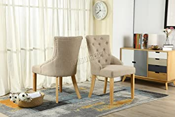 Exceptionnel WestWood Furniture Set Of 2 Premium Cream Linen Fabric Dining Chairs Scoop  Button Back With Solid