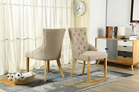 WestWood Furniture Set Of 4 Premium Cream Linen Fabric Dining Chairs Scoop Button Back With Solid