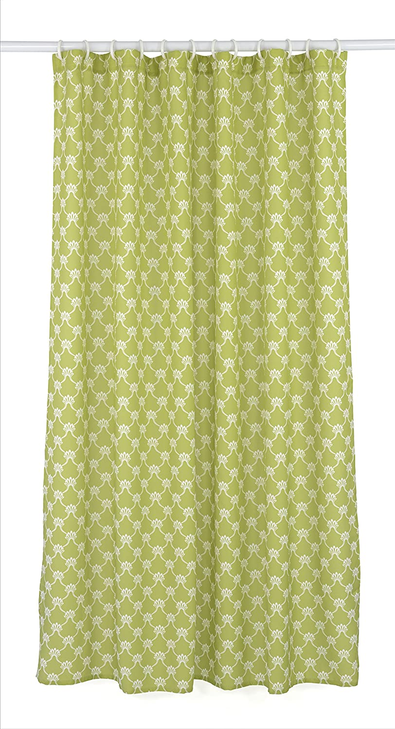 LJ Home Fashions 285 Manhattan Geometric Trellis Designed Shower Curtain Liner and Ring Set (14 Pieces) Green/White