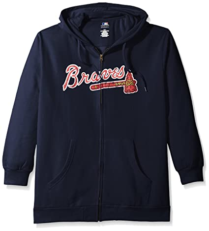huge discount 4d391 b7f78 Profile Big & Tall MLB Atlanta Braves Women's Team Full Zip Fleece Hoodie  with Distress Word Mark on Chest, 1X, Navy
