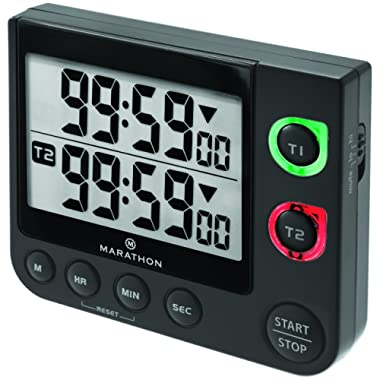 Marathon Large Display 100 Hour Dual Count UP/Down Timer. Adjustable Volume and Flashing Light Feature. Great for Visually or Hearing Impaired - Battery Included - TI030017BK (Black)