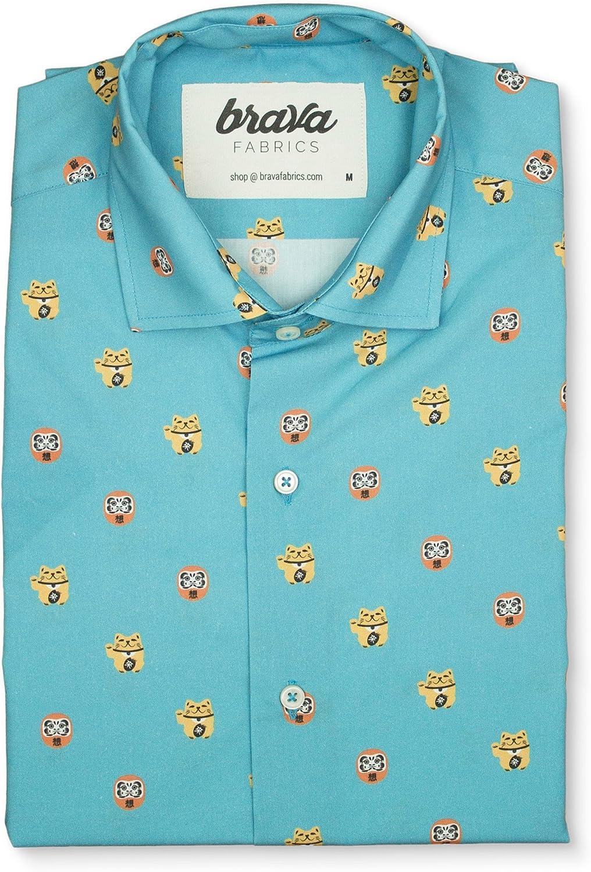 Brava Fabrics - Camisa Hombre Manga Corta Estampada - Camisa Azul para Hombre - Camisa Casual Regular Fit - 100% Algodón - Modelo Daruma - Talla 3XL: Amazon.es: Ropa y accesorios