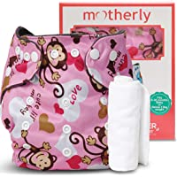 Motherly Baby Reusable Diaper with Insert Nappy Washable Cloth Diapers Nappies for Babies (Pattern-A60-2)