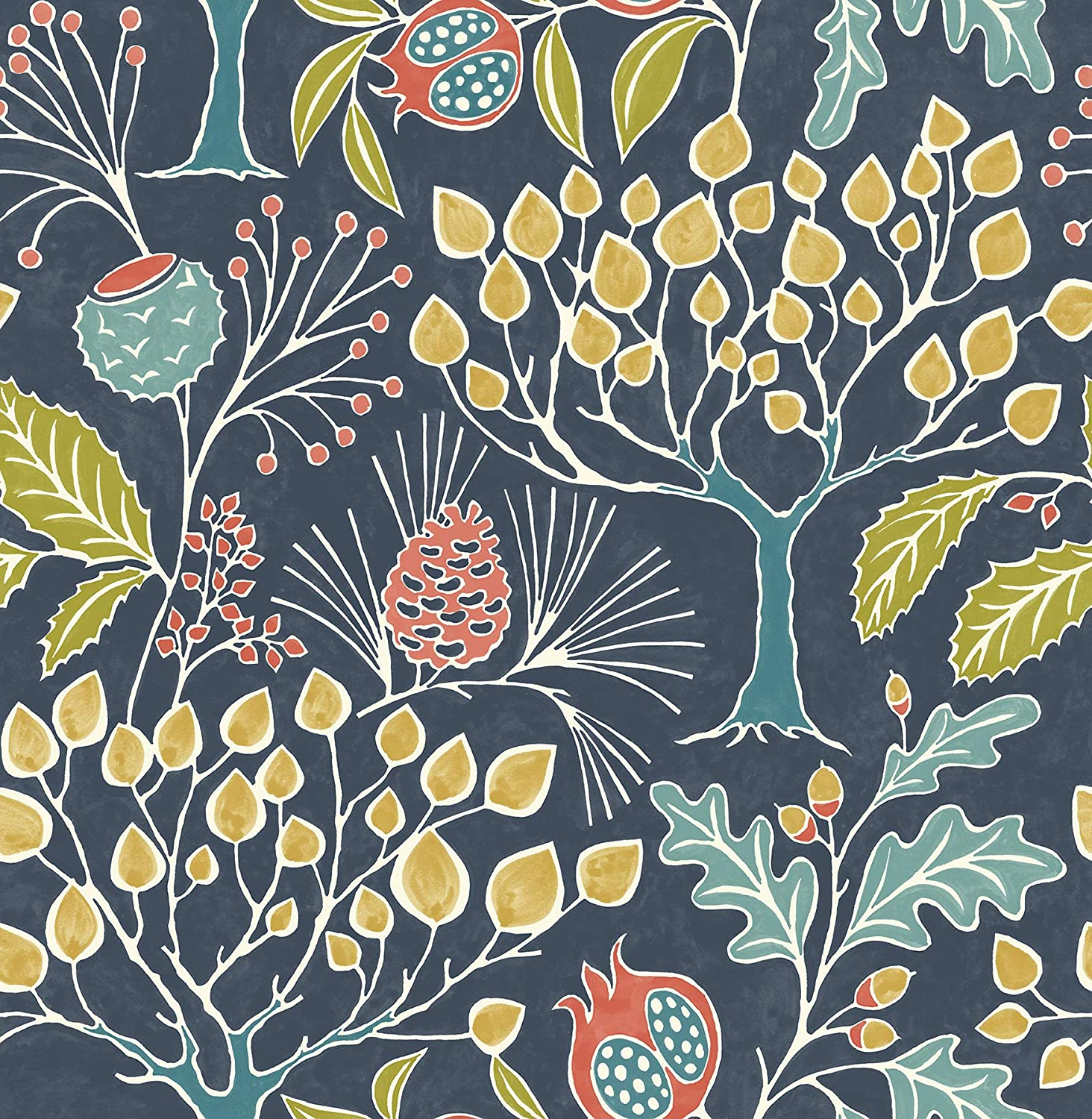 NuWallpaper NU3038 Groovy Garden Navy Peel & Stick Wallpaper, Multicolor