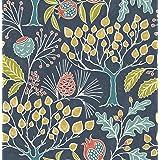 NuWallpaper NU3038 Groovy Garden Navy Peel & Stick Wallpaper