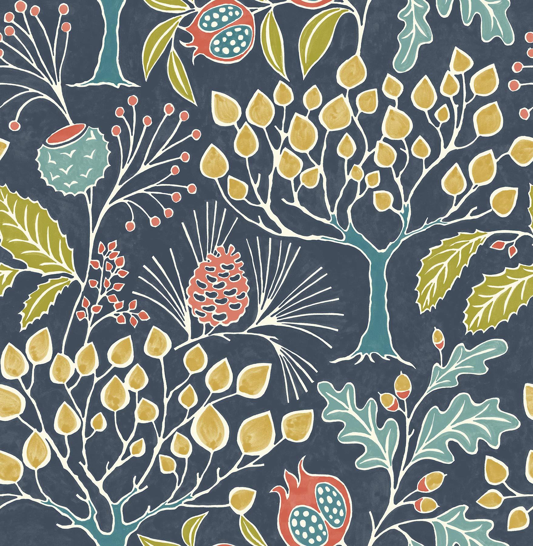 NuWallpaper NU3038 Groovy Garden Navy Peel & Stick Wallpaper, Multicolor by NuWallpaper