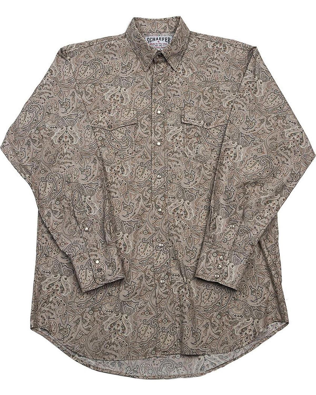 Schaefer Outfitter Men's Beige Frontier Paisley Western Snap Shirt Beige/Khaki X-Large