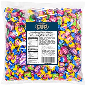Dubble Bubble 4 Flavor Bubble Gum Variety 5 Pound Bag Individually Wrapped Pieces with By The Cup Clown Pops