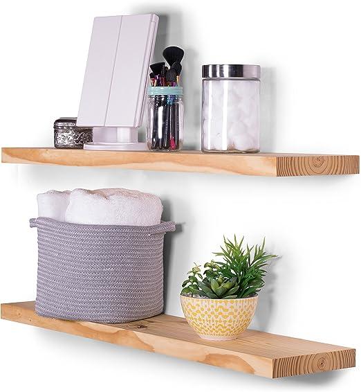 Hidden Creek Design Floating Corners Shelves Small Size Solid Rustic Pine Set of