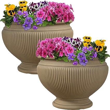 225 & Sunnydaze Elizabeth Ribbed Urn Flower Pot Planter Outdoor/Indoor Unbreakable Double-Walled Polyresin Fade-Resistant Pebble Grey Finish Set of 2 ...