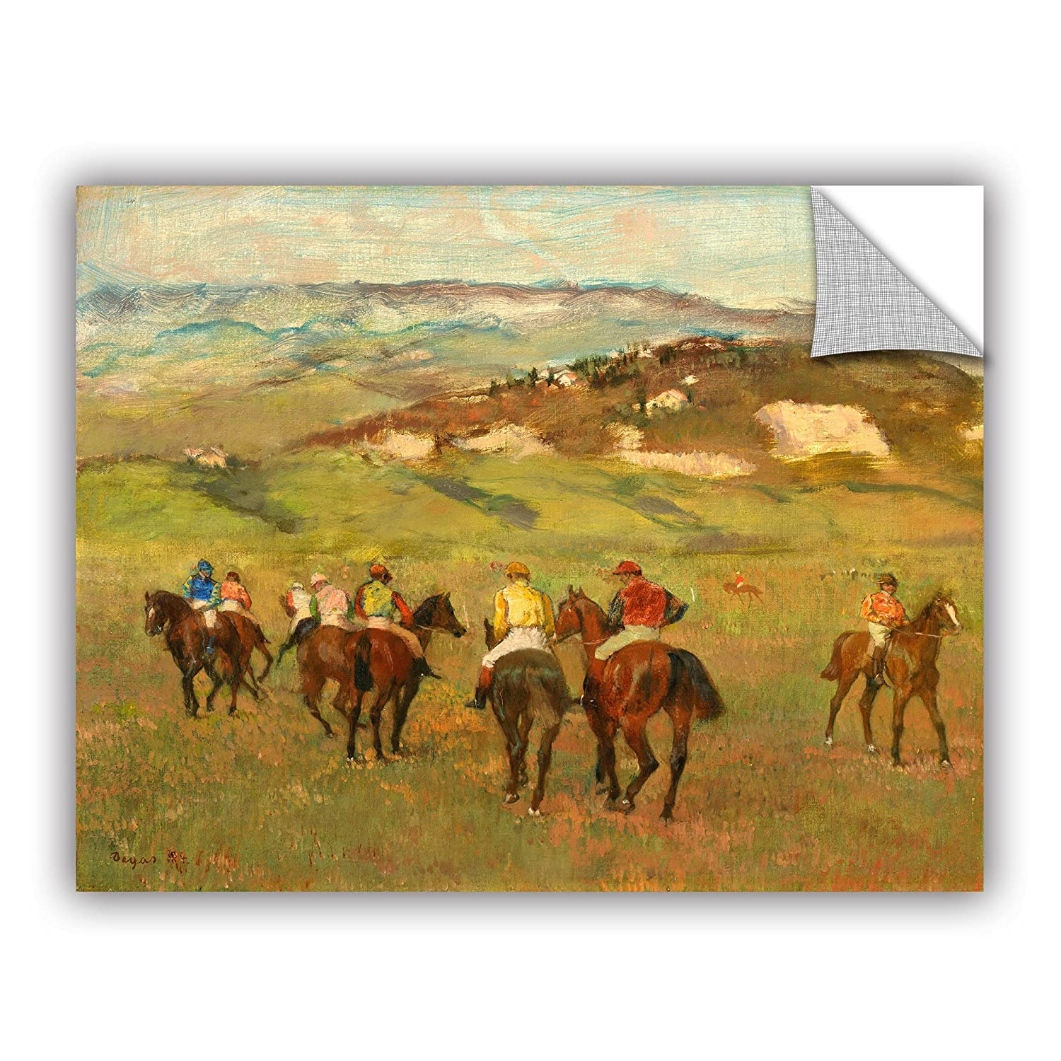 14 x 18 ArtWall Edgar Degass Jockeys on Horseback Before Distant Hills Art Appeelz Removable Wall Art Graphic