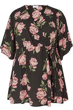 07ef0ab03cc6c Yours Women s Plus Size London   Pink Peony Print Wrap Blouse with Kimono  Sleeve  Amazon.co.uk  Clothing
