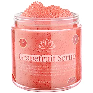Organic Grapefruit Scrub, Salt Scrub for Smooth and Soft Skin, Premium Skin Exfoliator with Shea Butter, Vitamin E and Natural Oils, Hydrating Formula for All Skin Types 10 oz