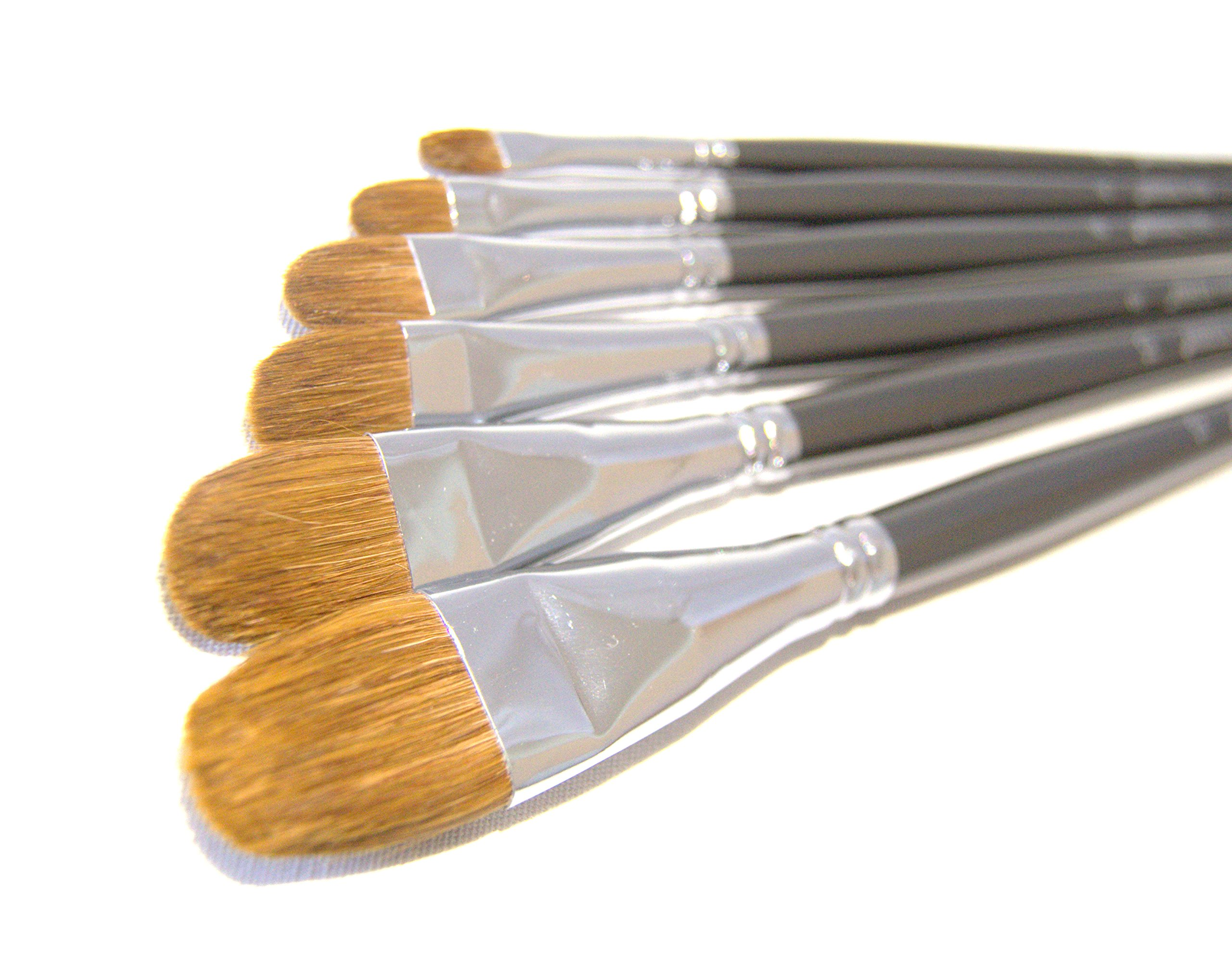 Red Sable Filbert Paint Brushes - Set of 6 Acrylic, Watercolor, Mixed Media or Oil Paint Brushes. Long Handle Professional Art Supplies for Canvas Painting by Creative Colors