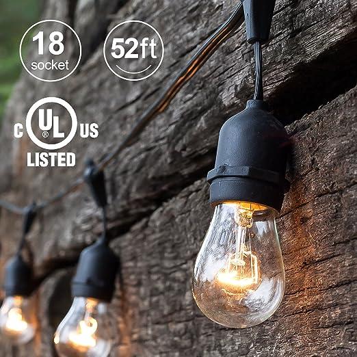 Amazon 52ft outdoor string lights commercial grade 52ft outdoor string lights commercial grade weatherproof yard lights 18 hanging sockets 3 aloadofball Gallery