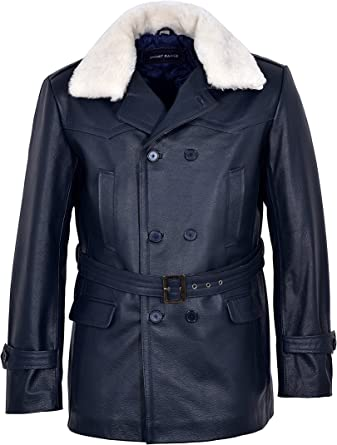Mens BLACK Leather TRENCH Coat Double Breasted Reefer PEACOAT Military Jacket