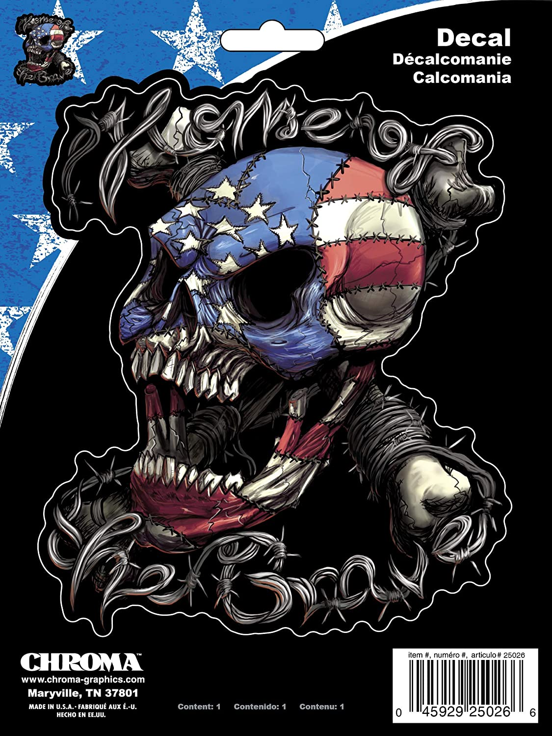 Chroma Graphics 25026 Patriotic Skull Home of The Brave Stick Onz Decal