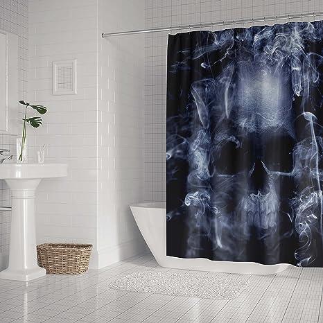 Shower Curtain Skull With Smoke Demons Waterproof Fabric Polyester Bath Mat