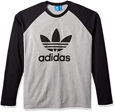 lowest price 56d8c 8b12b adidas Originals Men s Tops Long Sleeve Trefoil Tee, Medium Grey Heather  Black, Small