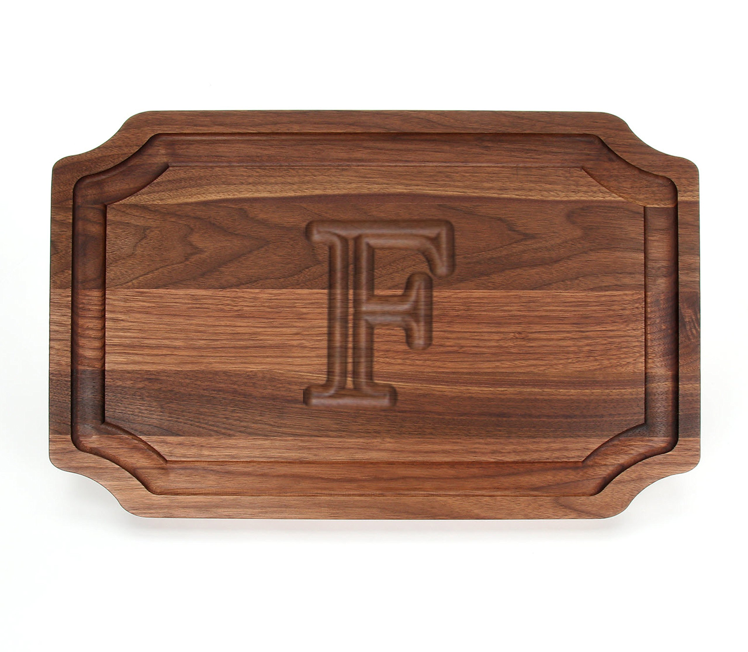 BigWood Boards W320-F Carving Board, Carving Board with Juice Well, Large Personalized Cutting Board with Juice Groove, Walnut Serving Platter, ''F''