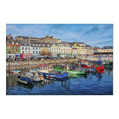 Cobh City Port in Ireland with Colorful Boats & Buildings on a Cloudy Evening 9017960 (Premium 1000 Piece Jigsaw Puzzle for Adults, 20x30, Made in USA!): Toys & Games