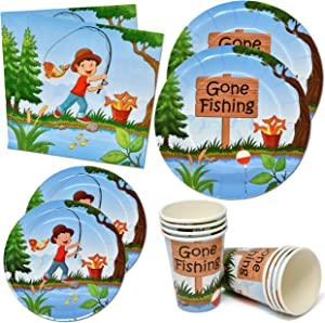 "Little Fisherman Gone Fishing Party Supplies Tableware Set 24 9"" Paper Dinner Plates 24 7"" Dessert Plate 24 9 Oz Cups 50 Lunch Napkin for Kids Camping Fish Tournament Themed Baby Shower Birthday Decor"