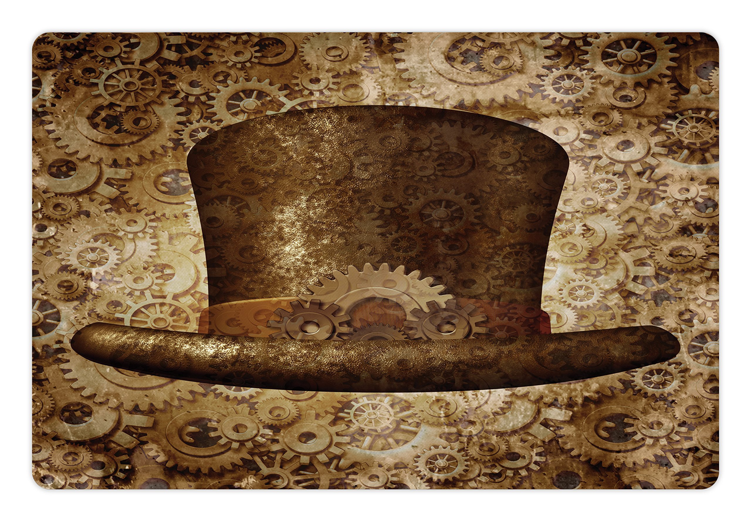 Lunarable Victorian Pet Mat for Food and Water, Steampunk Hat Fantasy Science Fiction Concept Futuristic Gears Cogs Print, Rectangle Non-Slip Rubber Mat for Dogs and Cats, Brown Sand Brown 3