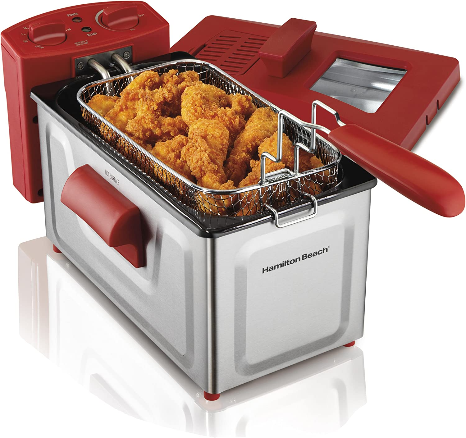 Hamilton Beach 8 Cup Fast Cooking Stainless Steel Deep Fryer with Lid 35201