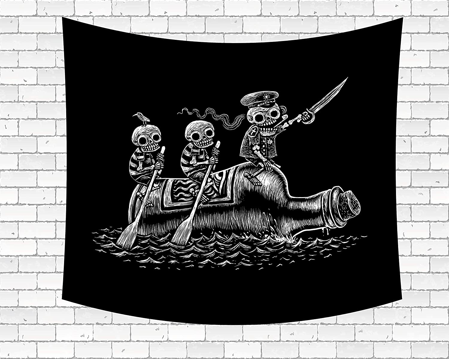 "Wamika Funny Pirate Skull Tapestry Wall Art Skeletons Sea Voyage Sailors Tapestry Wall Hanging Home Decor Tapestries for Dorm Living Room Bedroom Hippie Bohemian Tapestry Black and White 60"" X 80"""