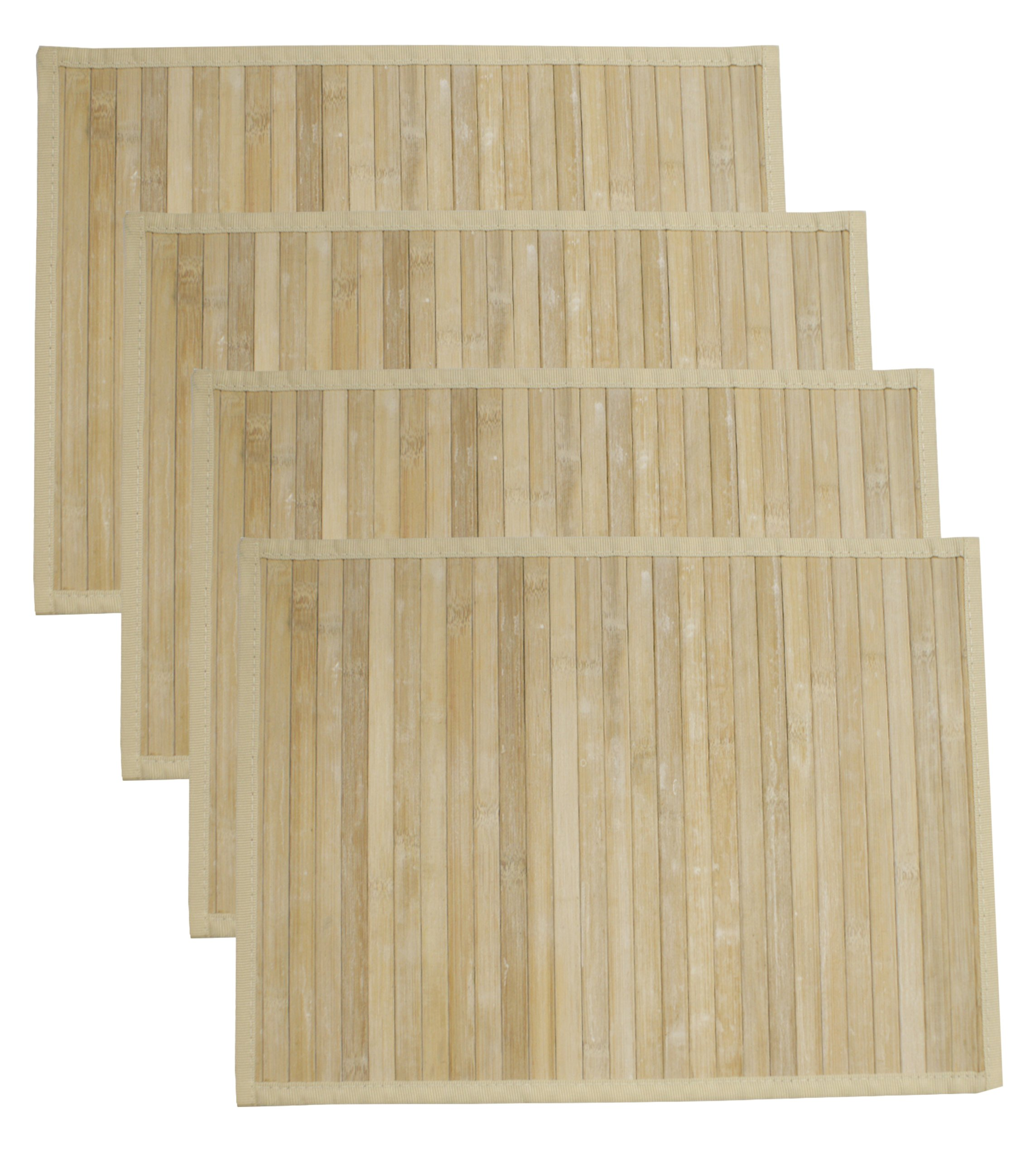 HOTEL 08402 Bamboo 4 Pack Placemat Set,White,12x18
