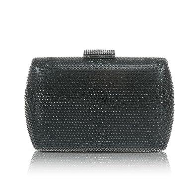 8ea3e97e91 Womens Evening Purse Rhinestones Handbag ,WALLYN'S Glitter Prom Clutch  Chain Strap (Black)