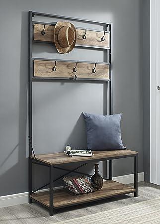 WE Furniture Industrial Metal And Wood Hall Tree In Rustic Oak   72u0026quot;