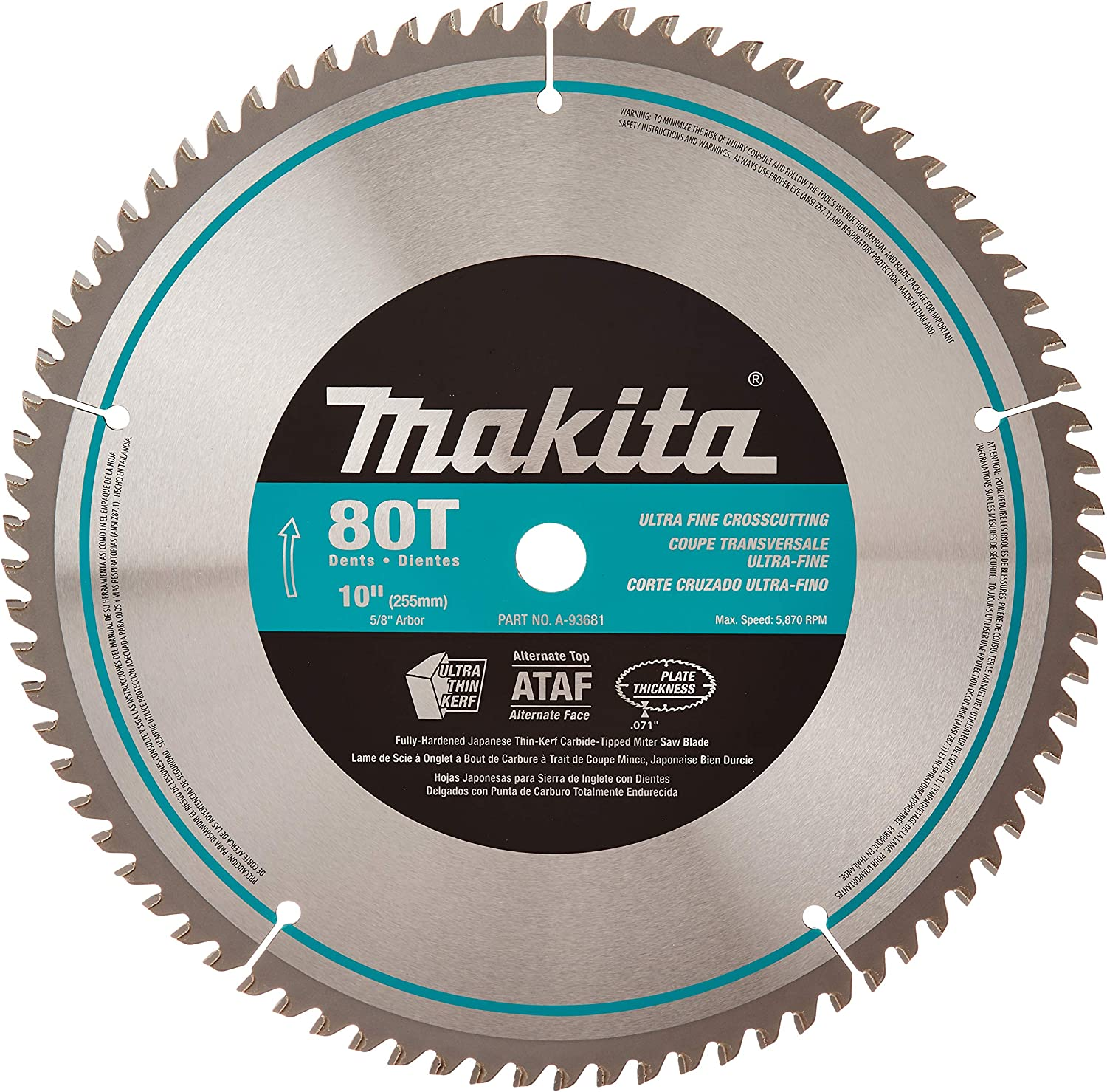 Makita A-93681 10-Inch 80 Tooth Micro Polished